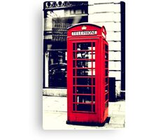 Red British Telephone Booth in London Canvas Print