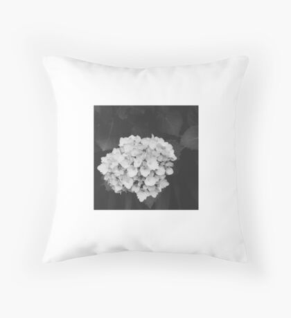 Hydrangea in Black and White Throw Pillow