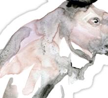 Moose Zen watercolor White Sticker
