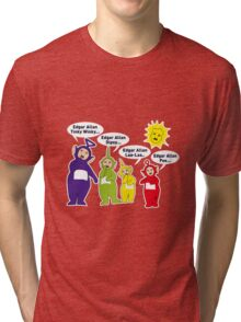 Teletubbies Edgar Allan Poe 2 Tri-blend T-Shirt