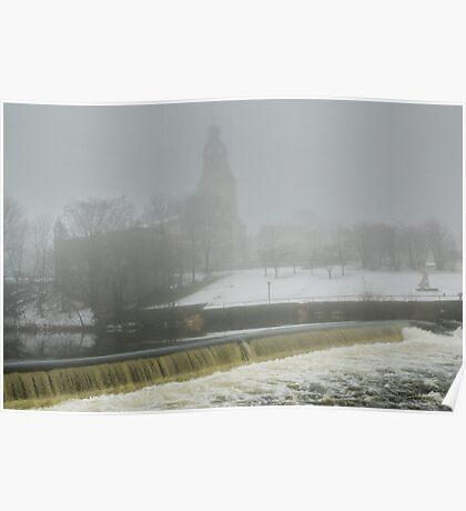 Slater Mill Dam in Winter Poster