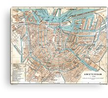 Vintage Map of Amsterdam (1905) Canvas Print