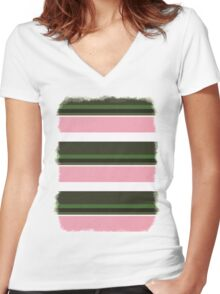 Pink Roses in Anzures 3 Stripes 5H Women's Fitted V-Neck T-Shirt