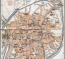 Vintage Map of Bruges (1905)  by BravuraMedia