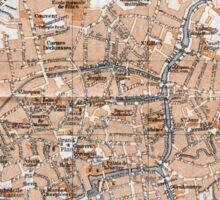 Vintage Map of Bruges (1905)  Sticker