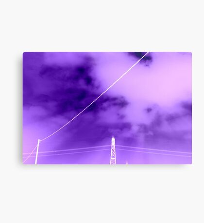 electricity pylon against the sky Metal Print