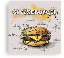 Cheeseburger Illustration with its Ingredients Canvas Print
