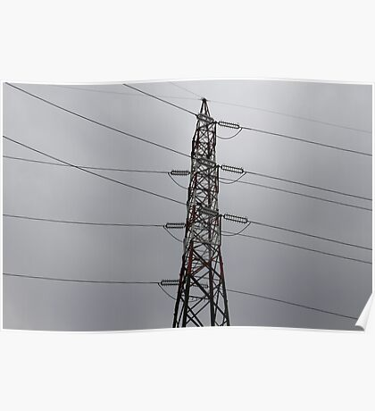 electricity pylon against the sky Poster