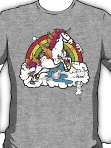 Laser-Shooting, Rainbow-Hugging, Cuteness-Exuding Cats from the Sky (Playing with a Unicorn) T-Shirt