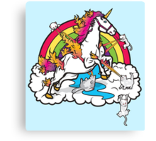 Laser-Shooting, Rainbow-Hugging, Cuteness-Exuding Cats from the Sky (Playing with a Unicorn) Canvas Print