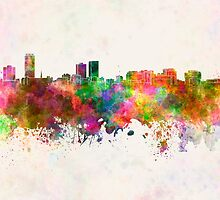 Baton Rouge skyline in watercolor background by paulrommer