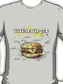 Cheeseburger Illustration with its Ingredients T-Shirt