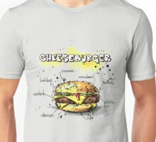 Cheeseburger Illustration with its Ingredients Unisex T-Shirt