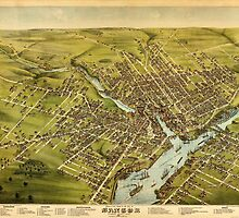Vintage Pictorial Map of Bangor Maine (1875) by BravuraMedia