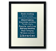 Librarian white text Framed Print