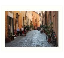 October  Morning in the streets of Rome Art Print