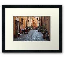 October  Morning in the streets of Rome Framed Print