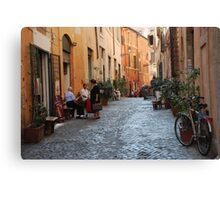 October  Morning in the streets of Rome Canvas Print