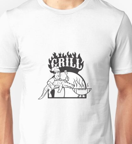 Chef Carry Alligator Grill Cartoon Unisex T-Shirt