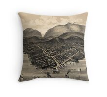 Vintage Pictorial Map of Bar Harbor (1886) Throw Pillow
