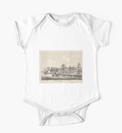 649 View of buildings in the park NY 1809 School engine house bridewell City Hall One Piece - Short Sleeve