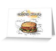 Chicken Burger Watercolored Illustration Greeting Card