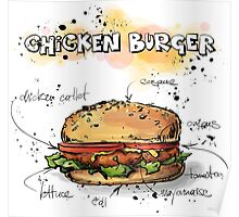 Chicken Burger Watercolored Illustration Poster