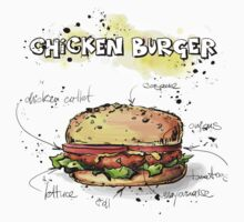 Chicken Burger Watercolored Illustration by texasaggie