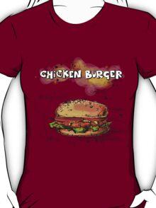 Chicken Burger Watercolored Illustration T-Shirt