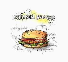 Chicken Burger Watercolored Illustration Men's Baseball ¾ T-Shirt
