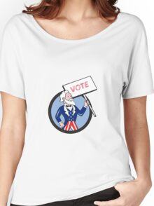 Uncle Sam Holding Placard Vote Circle Cartoon Women's Relaxed Fit T-Shirt