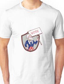 Uncle Sam American Placard Vote Crest Cartoon Unisex T-Shirt