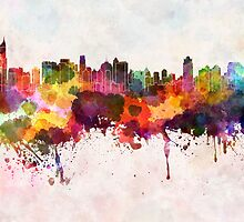 Jakarta skyline in watercolor background by paulrommer