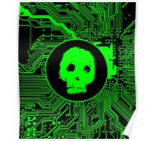 Green Blurry Skull (Cybergoth) Poster