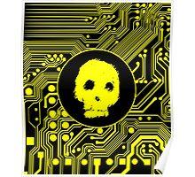 Yellow Blurry Skull (Cybergoth) Poster
