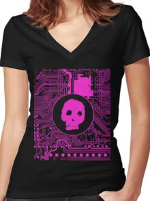 Pink Blurry Skull (Cybergoth) Women's Fitted V-Neck T-Shirt