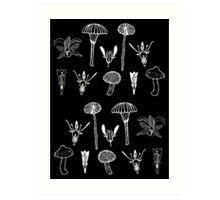 Fungi and flowers white Art Print