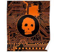 Orange Blurry Skull (Cybergoth) Poster