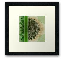 Green stripe and flower Framed Print