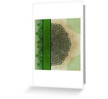 Green stripe and flower Greeting Card