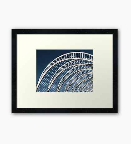 Abstract White Architecture On Blue Sky Framed Print
