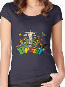 Funny cartoon brazil picture Women's Fitted Scoop T-Shirt