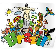 Funny cartoon brazil picture Poster