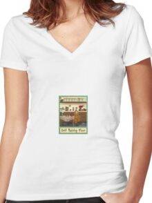 Gingerbread Canister Label - Self Raising Flour Women's Fitted V-Neck T-Shirt