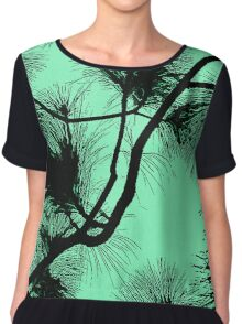 Desert flora, abstract pattern, floral design, black and light green Chiffon Top
