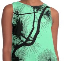 Desert flora, abstract pattern, floral design, black and light green Contrast Tank