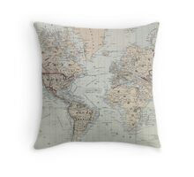 Vintage Map of The World (1875)  Throw Pillow