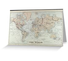 Vintage Map of The World (1875)  Greeting Card
