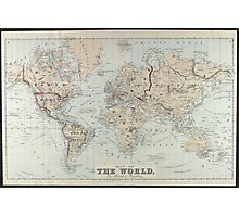 Vintage Map of The World (1875)  Photographic Print