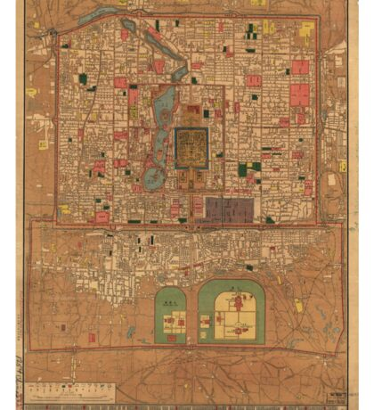 Vintage Map of Beijing China (1914) Sticker